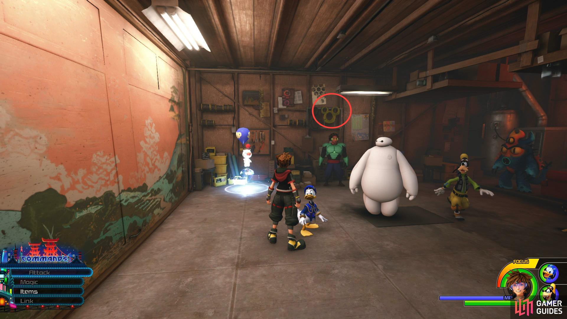 Look on the board to the right of the Moogle Shop to spot a Lucky Emblem.