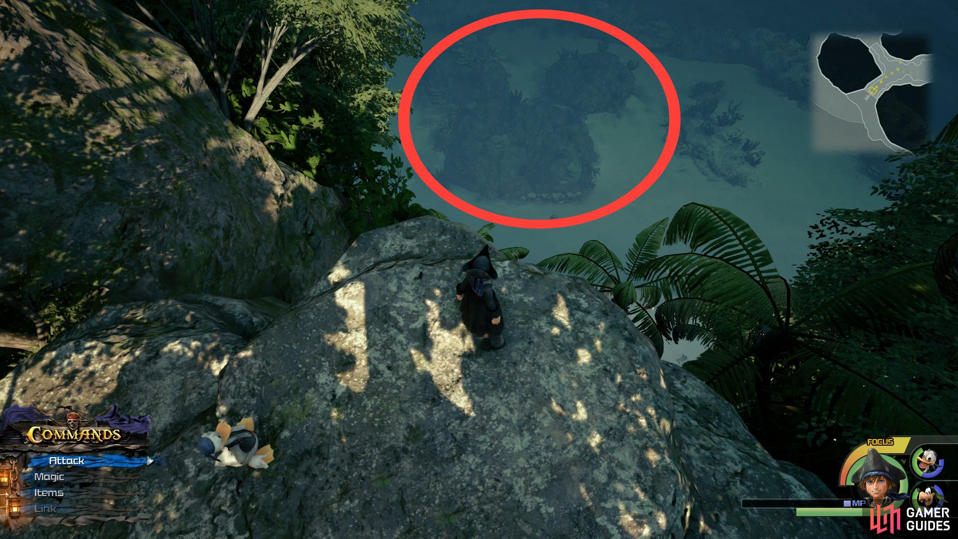 You can make out another Lucky Emblem in the sea from this position.
