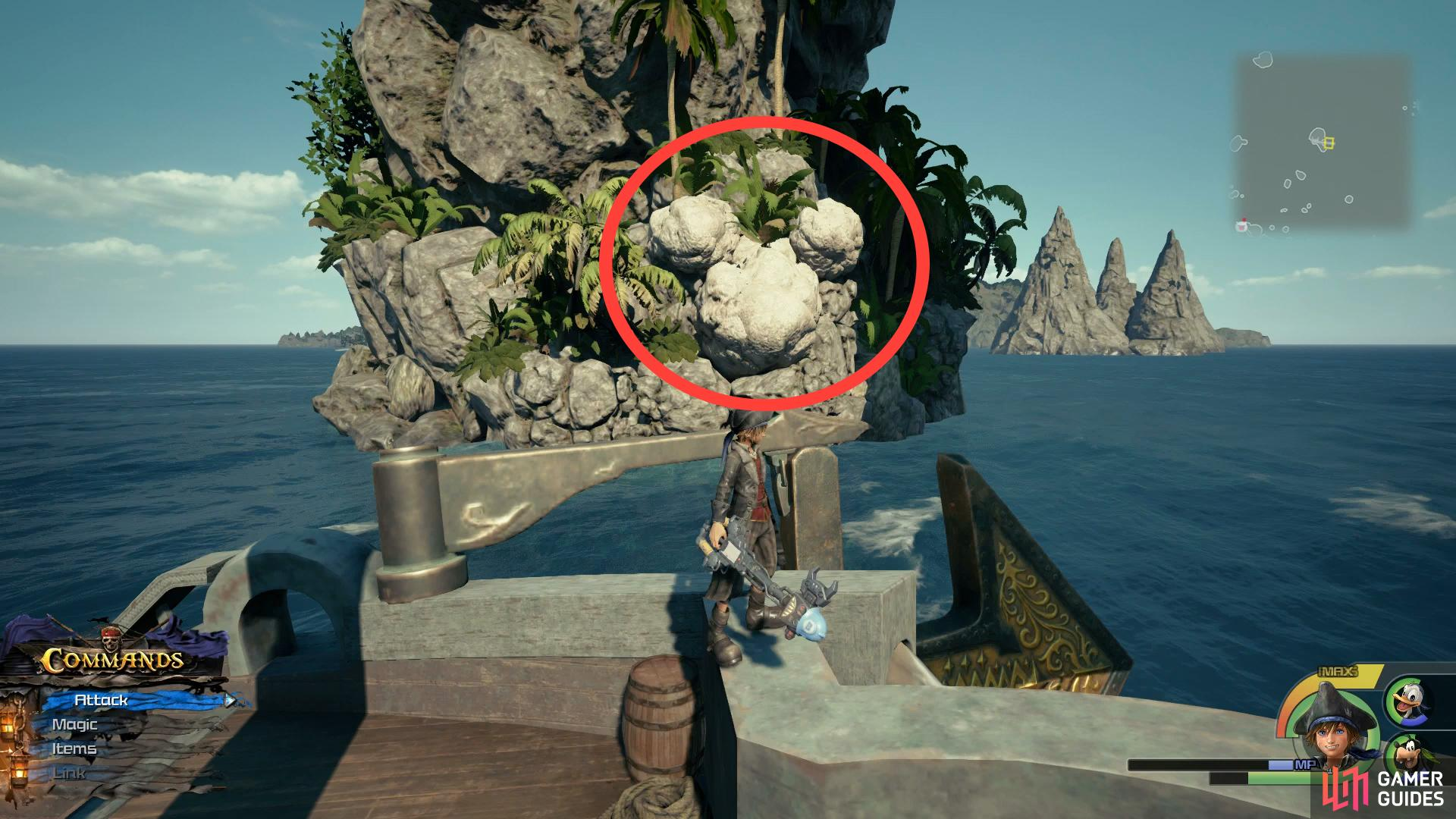 Sail under the archway of Horeshoe Island to find this Lucky Emblem