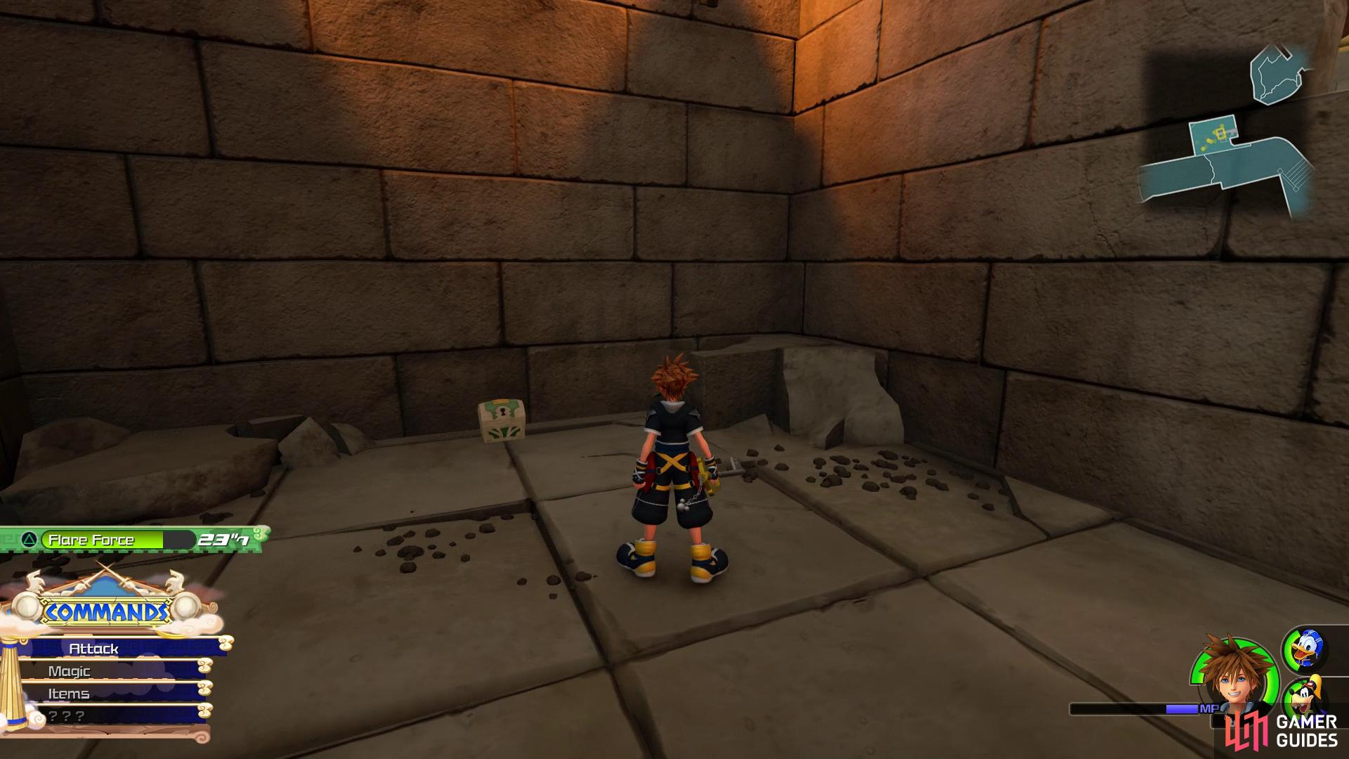 run up the wall once you reach the area with the burning ground to find this chest.