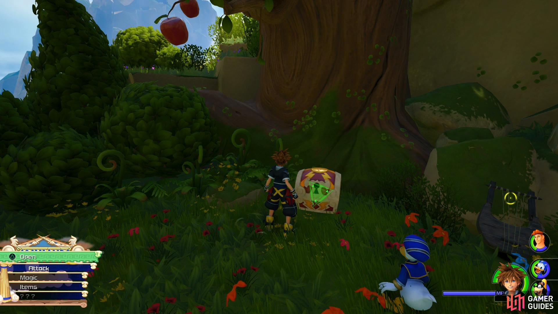 Look under the apple tree for this chest.