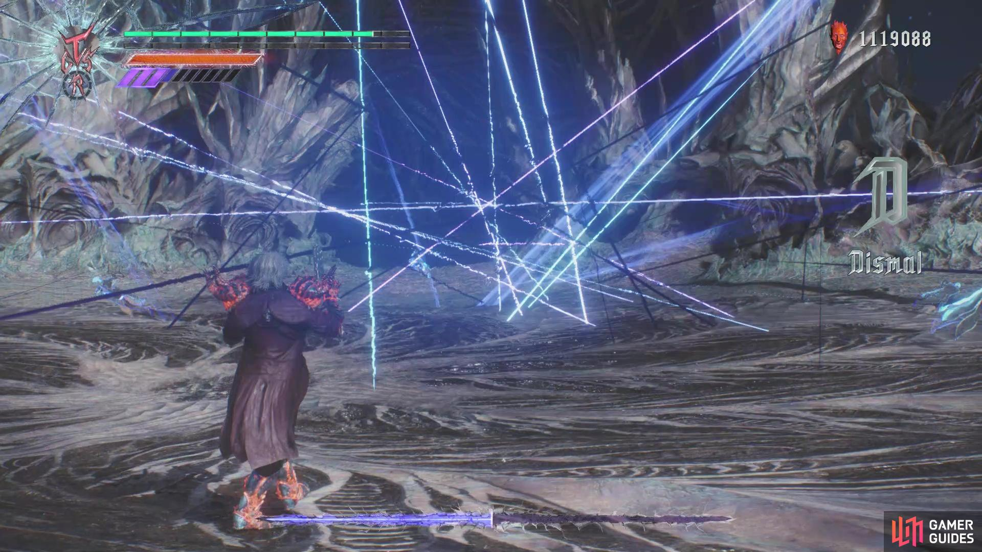 get away from it, as Vergil will unleash a flurry of sword slashes