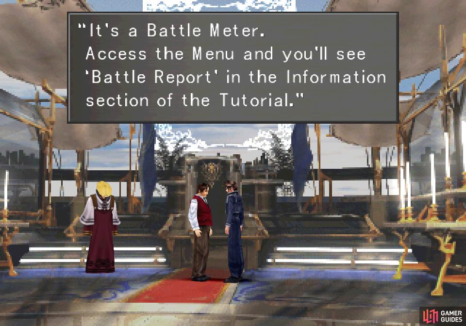 Talk to Cid after graduating and he'll give you the Battle Meter