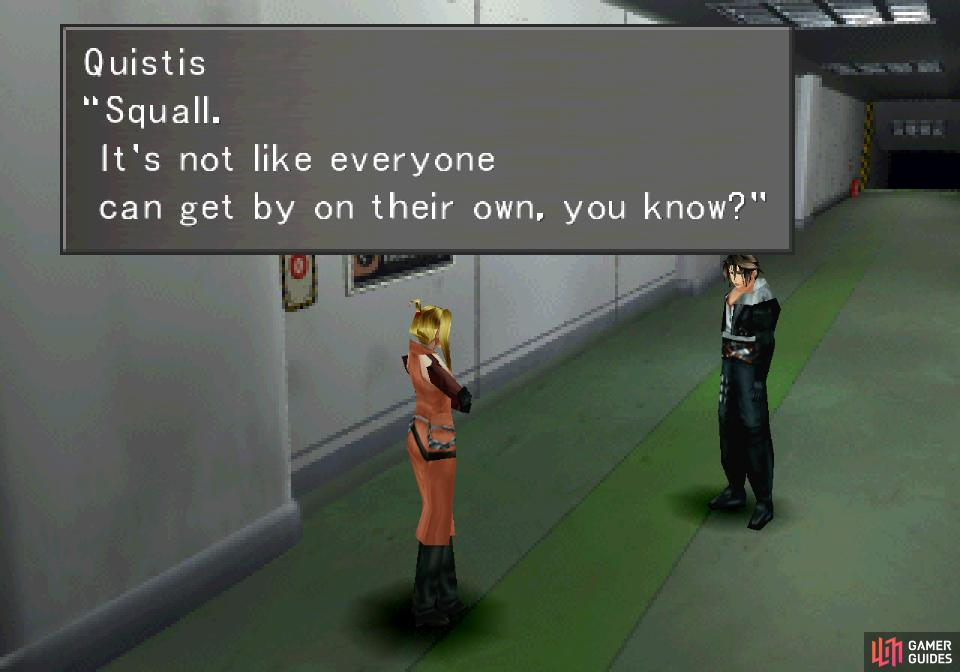 Unable to help herself, Quistis bothers you with yet another tutorial