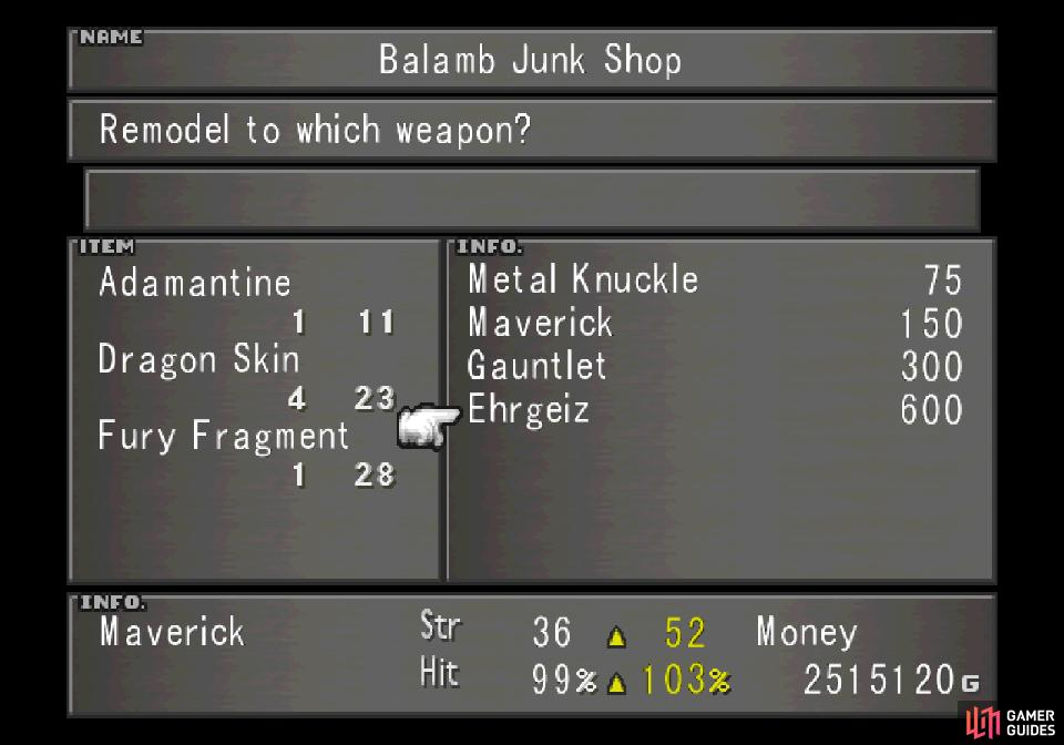 which in turn can be used to create Zell's ultimate weapon, Ehrgeiz - otherwise difficult for low-level players to obtain.