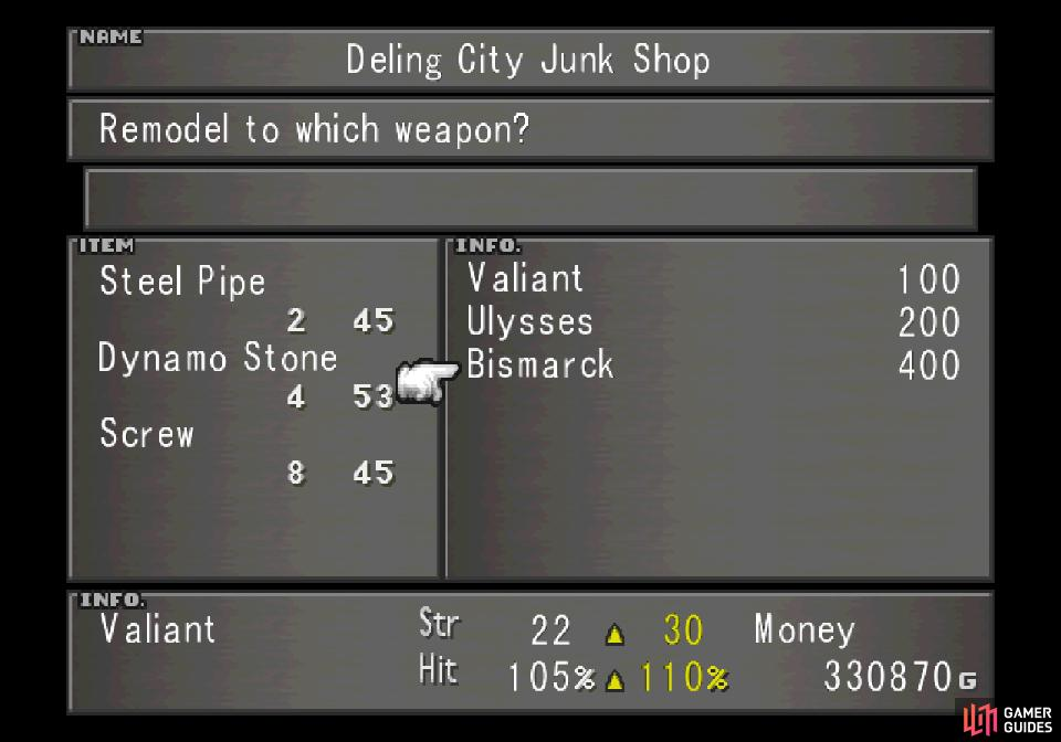 and check out what weapons you can craft for Irvine