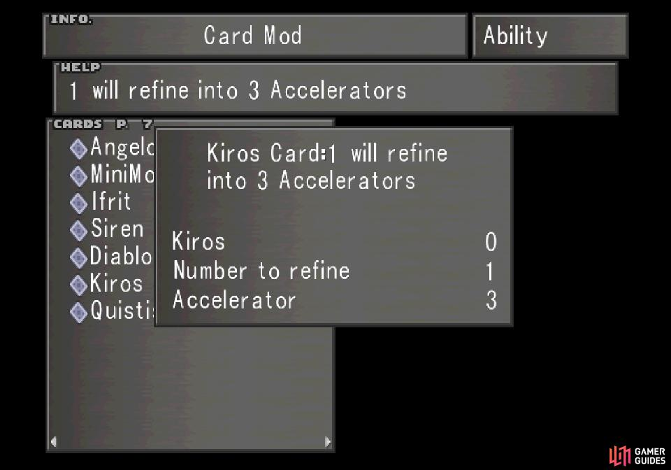 Refine the Kiros card into three Accelerators