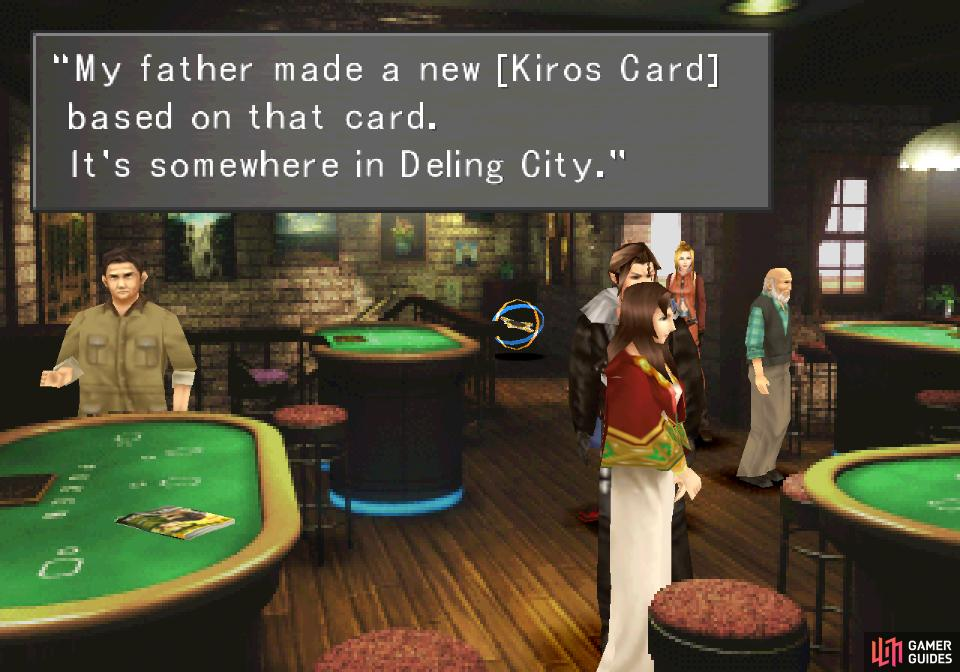 If you lose the MiniMog Card earlier, the Queen of Cards will inform you her father created the Kiros Card