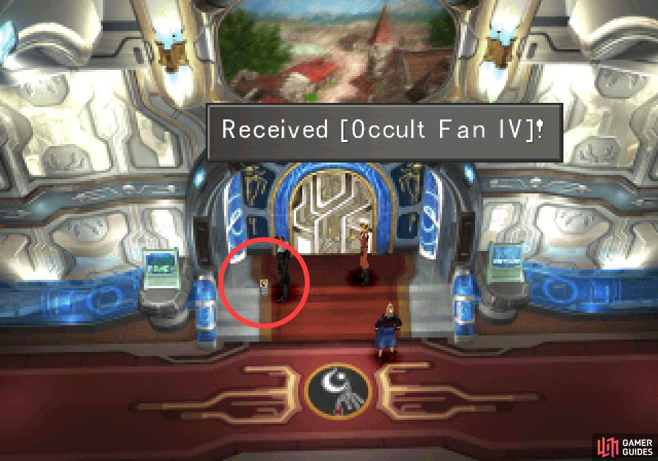 then return to the Presidential Palace to find Occult Fan IV