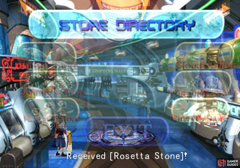 Visit the shops in Esthar repeatedly to obtain gifts, including a Rosetta Stone.