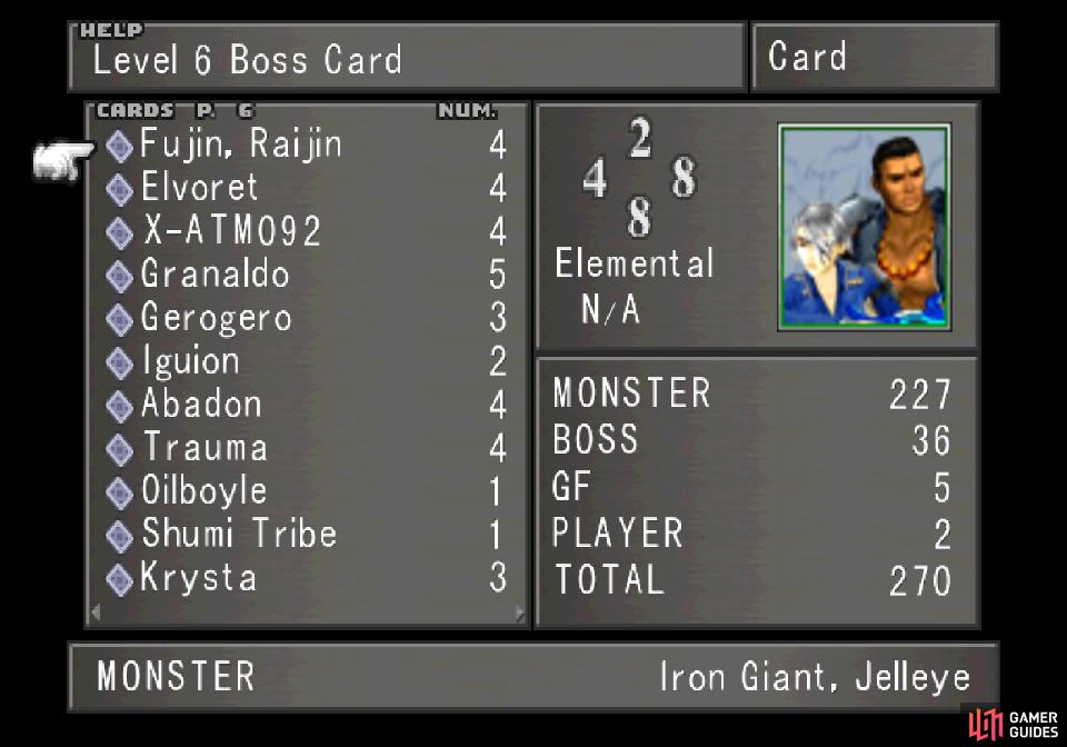 You can acquire ever Level 6 Boss card in Galbadia Garden