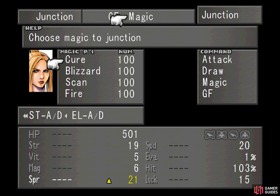 then junction stocked magics to your stats to boost them.