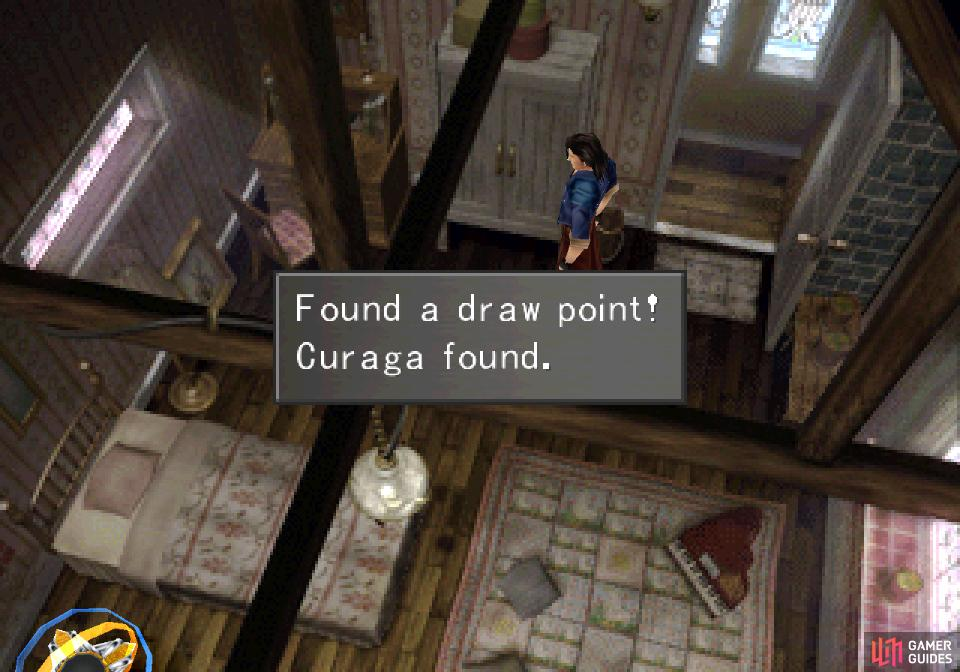 Near a cabinet you'll find a Curaga draw point