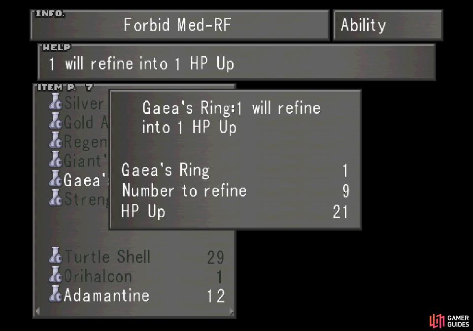 Each Gaea's Ring refines into a HP Up.
