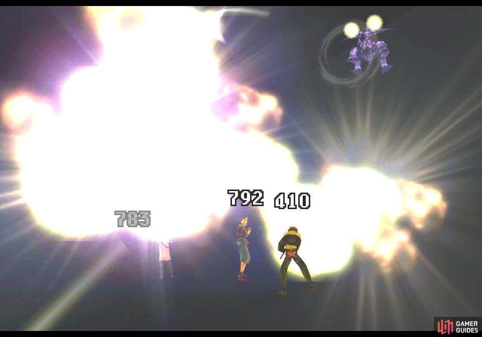 Potentially Omega Weapon's most dangerous attack, Terra Break will hit each party member with a random number of projectiles. Damage varies by level and can be mitigated by Protect, or Defend.