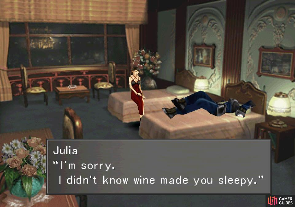 Depending on your actions earlier, the encounter with Julia may play out slightly differently