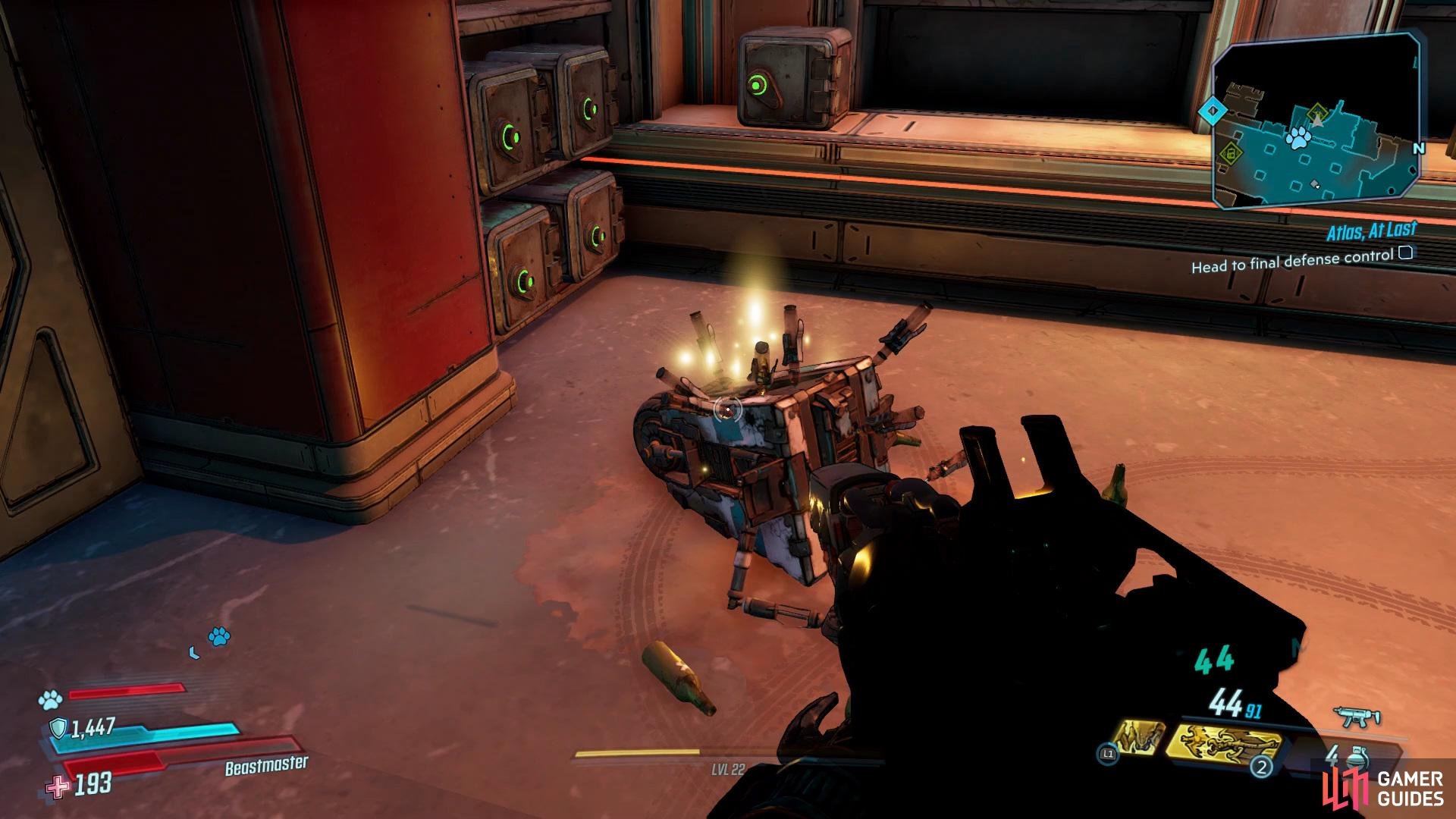 You'll be able to find the Dead Claptrap hidden behind a bar in the upper section of the lobby,