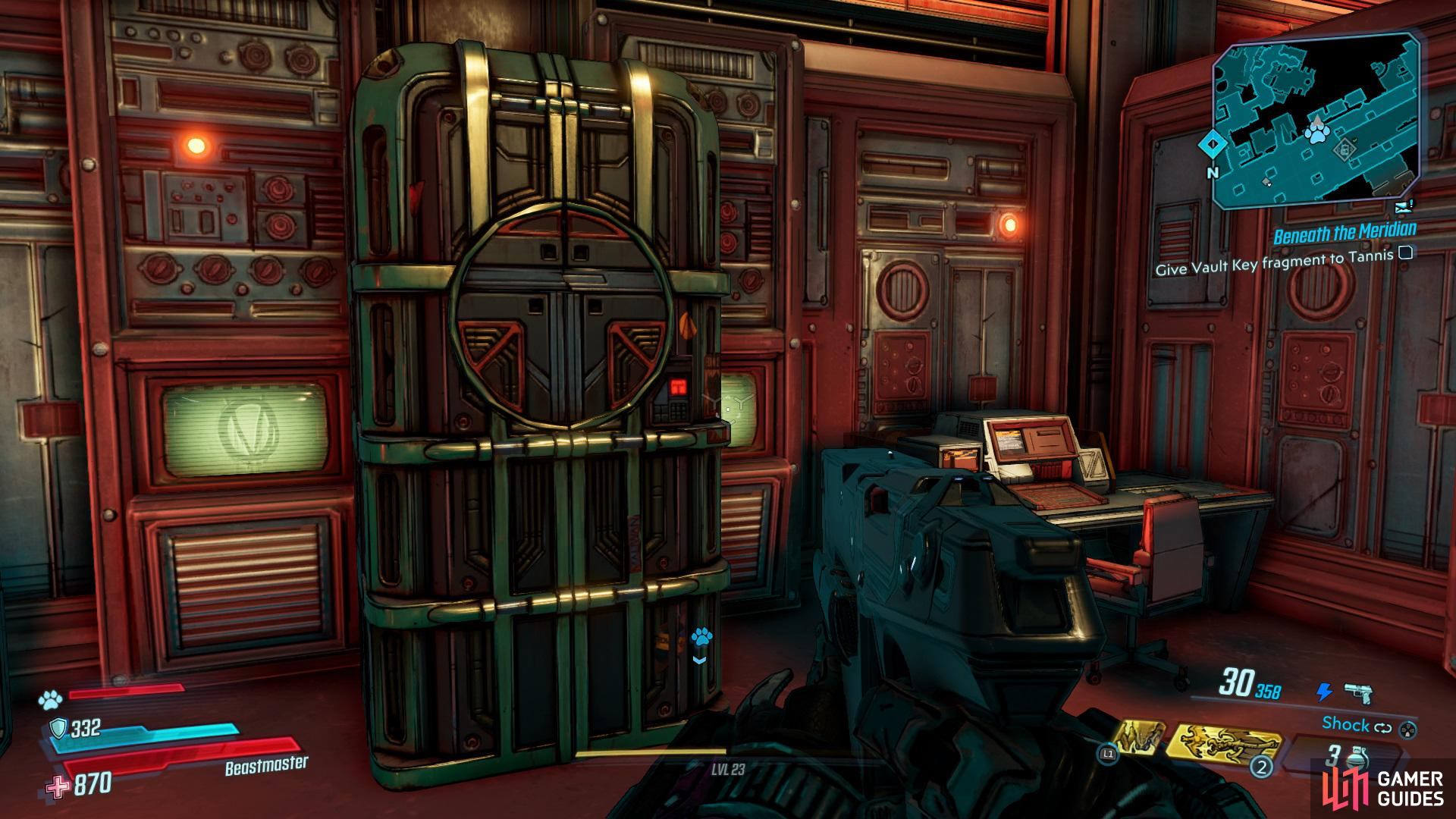 You'll be able to find the Typhon Dead Drop sitting in a room behind some red glass on the second floor of the lobby,