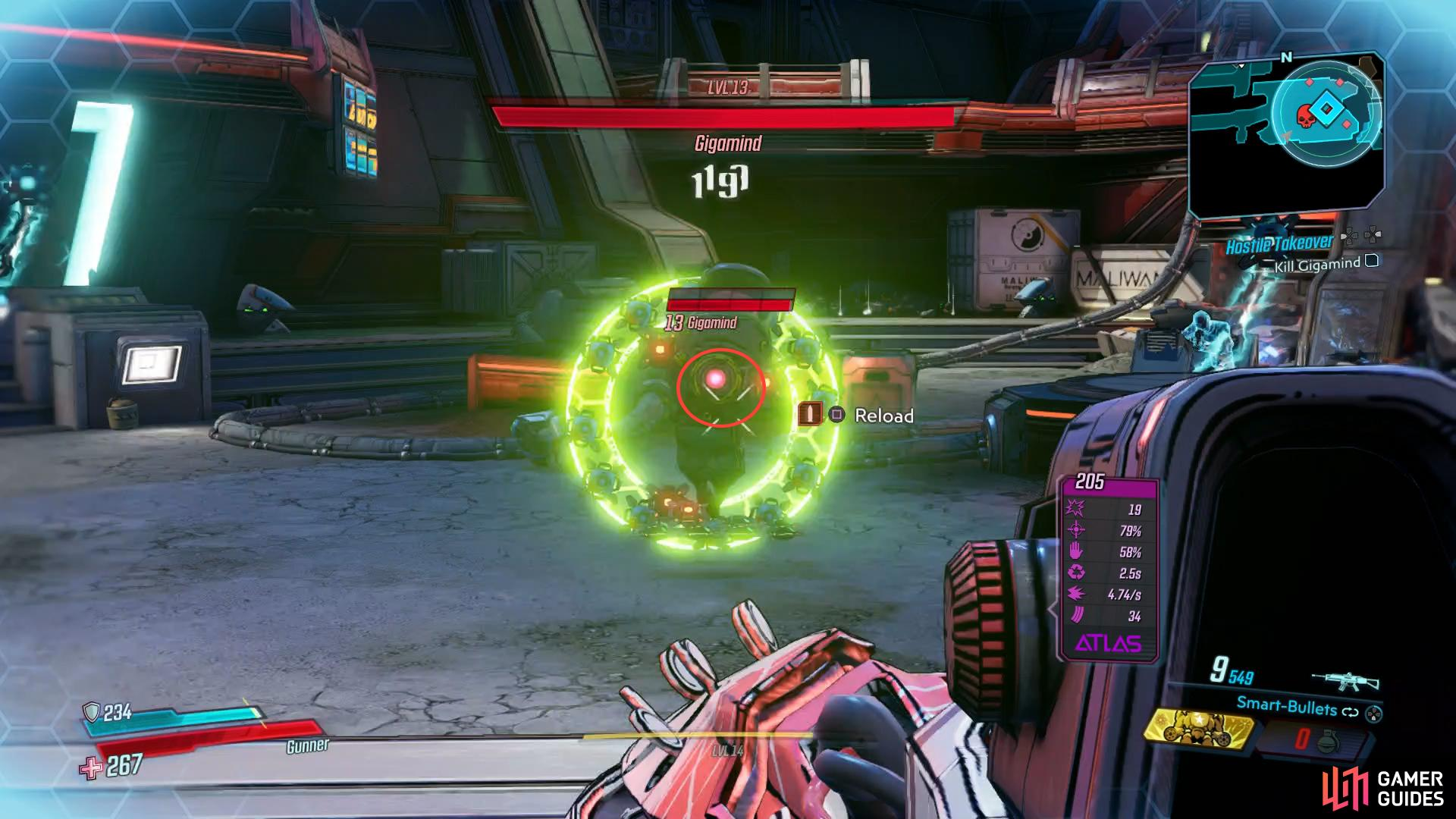 take aim at this pink spot to deal Critical Damage
