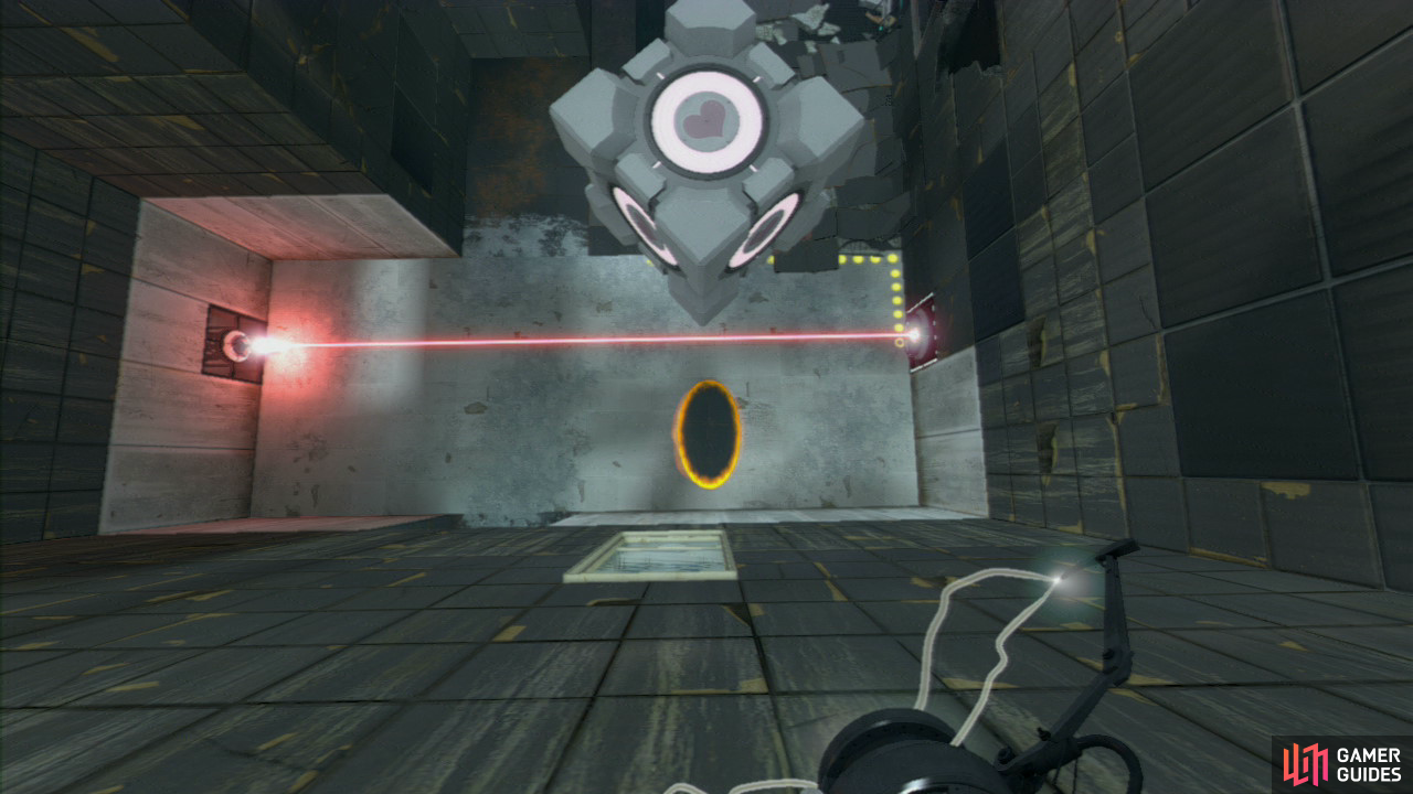 Look for what colour the portal is below you and change its location so it's facing upwards. Pick up the Companion Cube and fall down towards the portal, you'll fly out of the angled wall towards the red button.