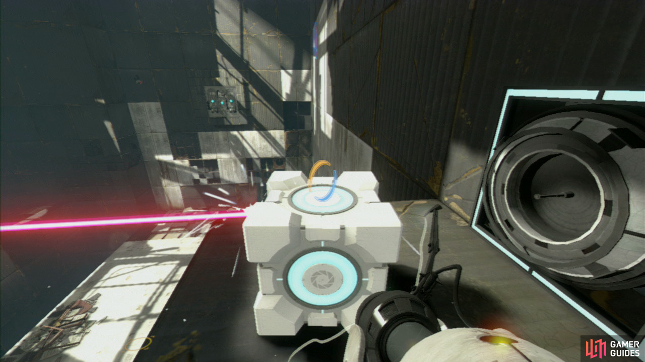 Once you're back on the main floor, stand on the jump pad and you'll hit the glass wall on the middle level. Place your Companion Cube in front of the laser to break it, dropping the barrier behind you.