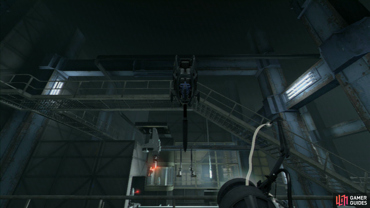 Once you reach the turret inspection room, stand by the funnel to the right of the entrance and turn around to face the turrets as they're inspected. Look up and when a defective turret is flung your way, catch it and take it around the walkway to where Wheatley is.