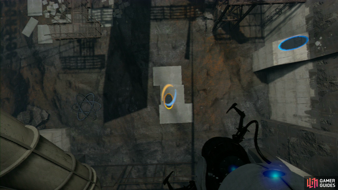 Walk around the metal girder to your left slowly until you're directly over the white floor panels below. Now look to the slanted wall panel to your right and set a portal here, now drop straight down and as you approach the floor, fire off the entrance portal, sending you flying through the exit portal and into the wall leading to the next puzzle.