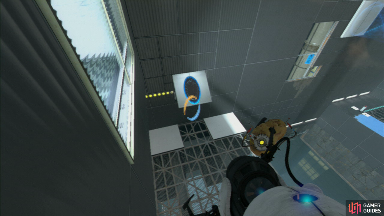 Set a transportation portal on the floor by the entrance and as you're rising towards the ceiling, keep your sights aimed at the slanted wall panel. Once you've reached the top, get rid of the beam and you'll drop through, over the glass panel and the velocity gained will take you into the blue gel and right to the exit!