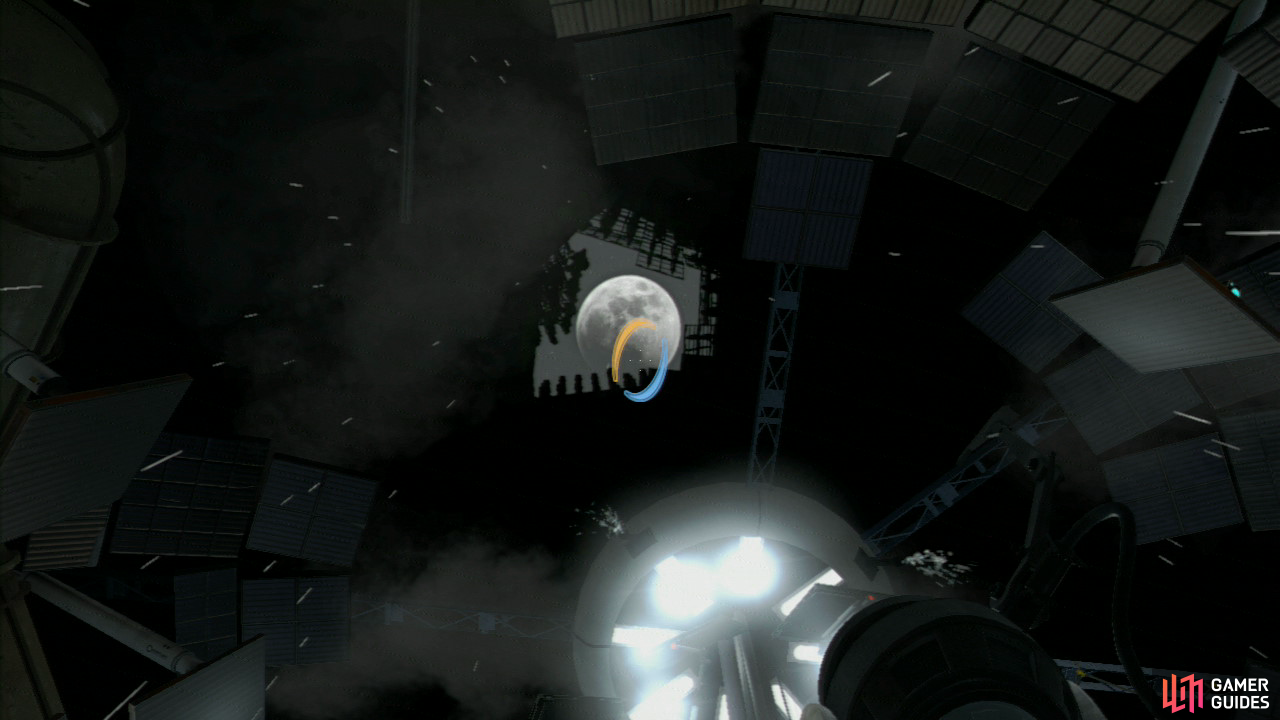 Your view will lock onto the ceiling and you'll notice the moon appear up above you. This is your cue to fire your portal gun at the moon, triggering the end sequence! Congratulations on finishing Portal 2's campaign! But there's still co-op, Achievements/Trophies and the Easter Eggs to find before you're truly finished...