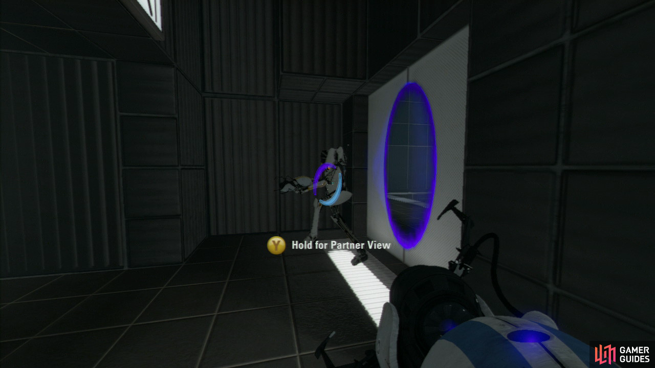 Player 1: Once you enter the locked area, set a new exit portal on the shoot-able wall on your right.