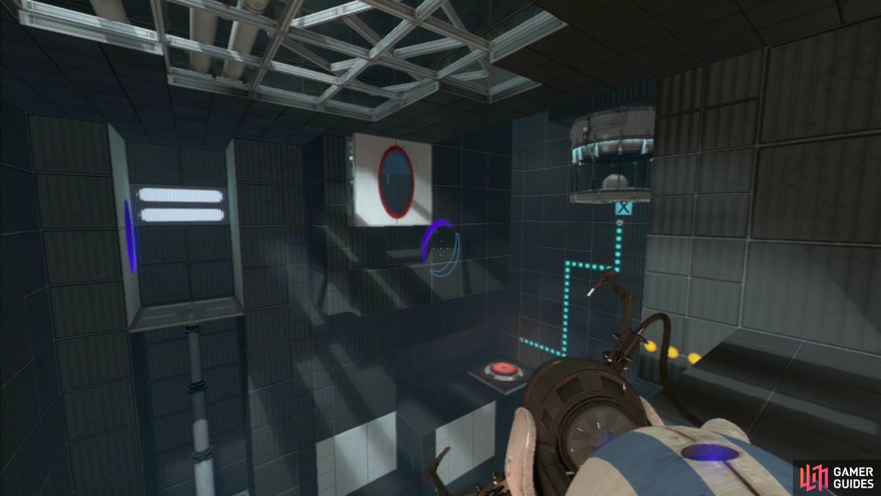 Player 1: As soon as you enter the room, drop a portal on the floor to your left (by the platform) and then set one up on the wall beside the platform.