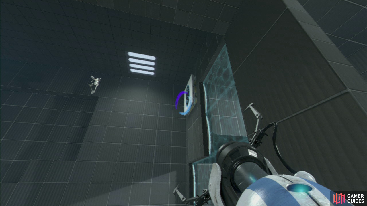 Player 1: Like in the last test chamber, this is all about using the speed generated by an 'infinite loop' of portals. So set your entrance portal and exit portal on the horizontal panels in the upper corner.  Once player 2 is gaining terminal velocity, walk to your left and look up in the top right-hand corner by the wall. There's a vertical wall panel up here that you need to fire your EXIT portal on, causing player 2 to travel all the way over to the other side (across the chasm).