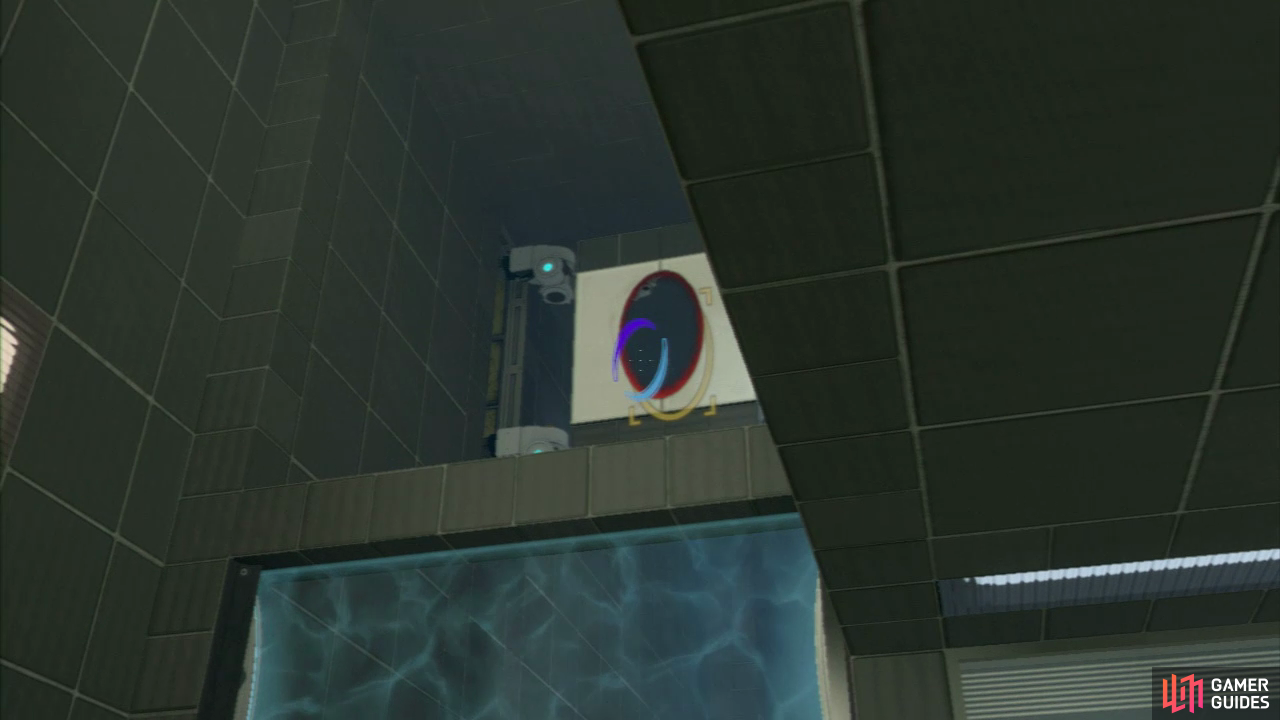 Player 2: Run on through the force field and set a portal on either side of the suspended vertical panel (up above you). This will allow player 1 to fly through to the platform above.