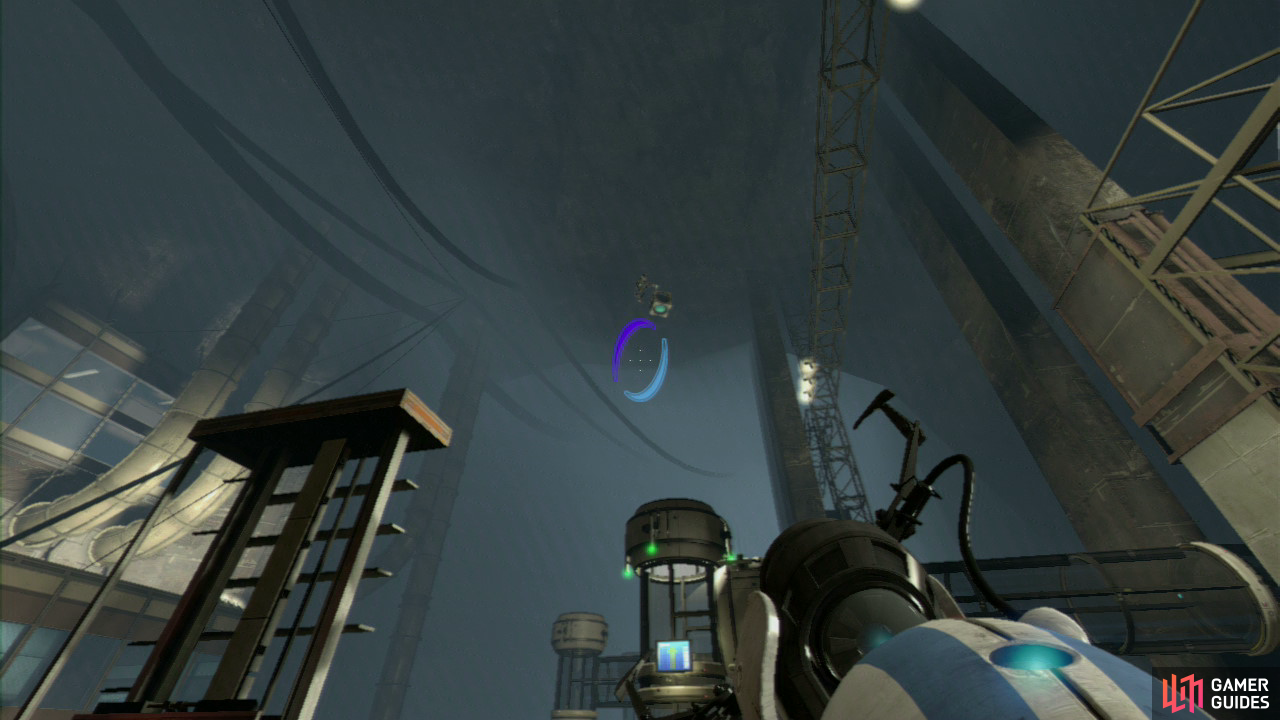 Player 2: As soon as the Displacement Cube reaches as far as where the Red Button Player 1 pushed, drop down into your portal and when you come flying out of the other side, you will be able to grab the Cube in mid-air and carry it across the gap to the platform just up ahead of you.  Now drop the Cube as you fire a portal into the wall panel in front of you (make sure it's the entrance portal, leaving the portal on the slanted wall where it is). Pick the Cube back up and carry it through, so you arrive back on the main platform along with player 1. Stand in front of the laser beam with the Displacement Cube and reflect the laser so it's hitting the power receptor in front of the giant fan, shutting it off temporarily.
