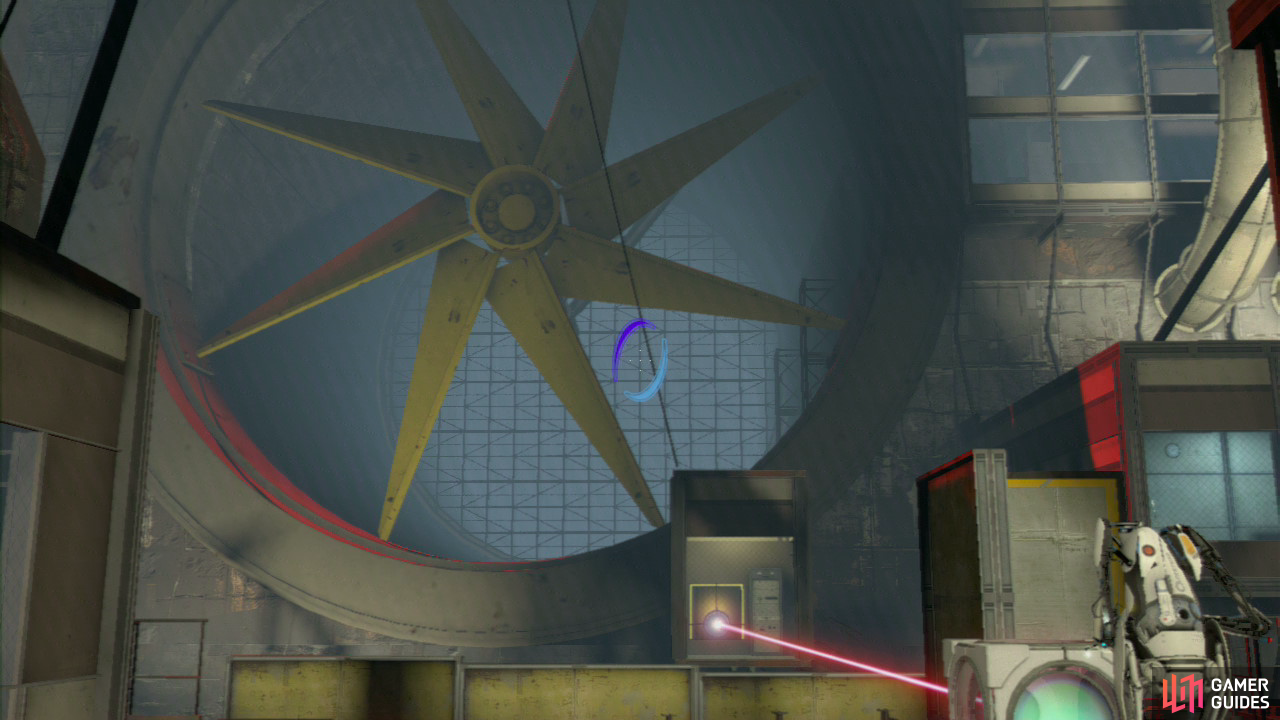 Player 1: Turn to face the left-hand wall/girders and look for the angled light coloured wall panel. Leave your original entrance portal where it is below you, and set your new exit portal up on this slanted wall. Drop back down into the lower portal and you'll be boosted over the platform and past the giant fan blades.  Now head inside the room to your left, set a portal on the wall to the right of the desk, about halfway up (you'll find the desk immediately in front of you as you walk through the open doorway). Now run into the room to your right, and directly underneath the clock on the wall (opposite the window), set your second portal.