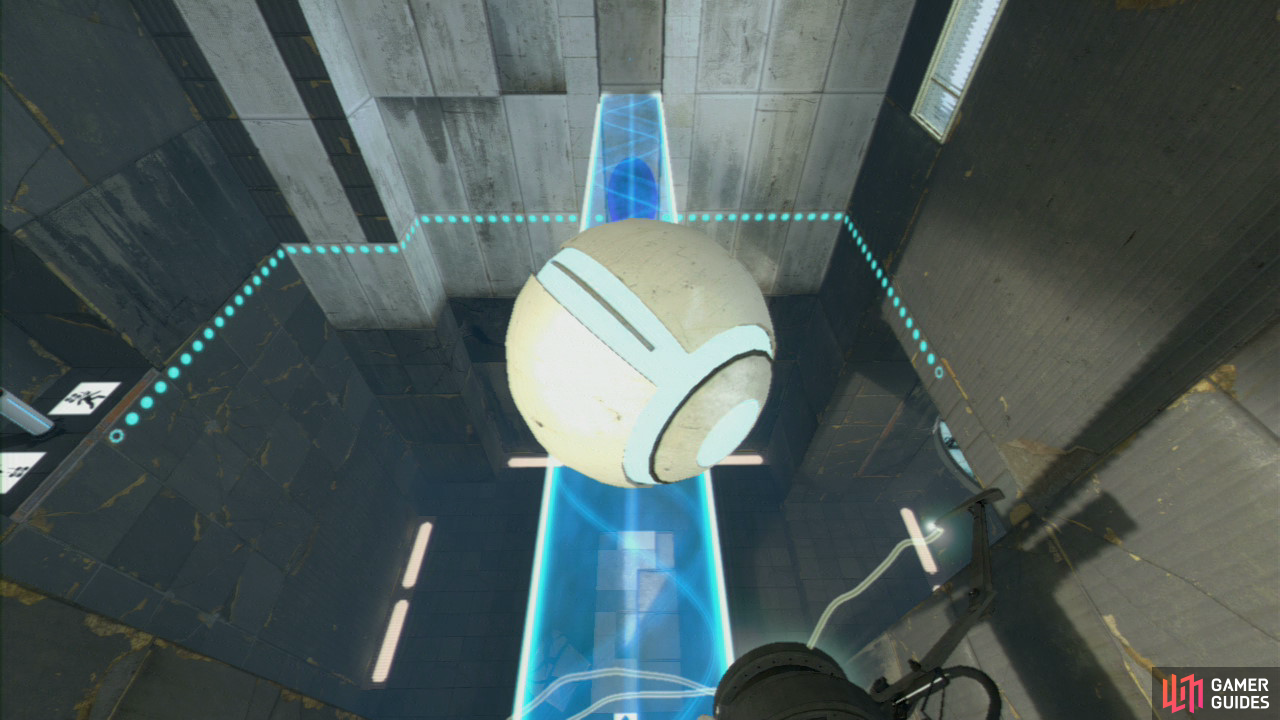 Player 2: Fire a portal at the very top of the room (so it covers the blue force field), otherwise you'll vaporise the ball needed to exit the level. Once player 1 steps on the Faith Plate and hits the light bridge with their head, immediately get a portal underneath them, so they can land on it.