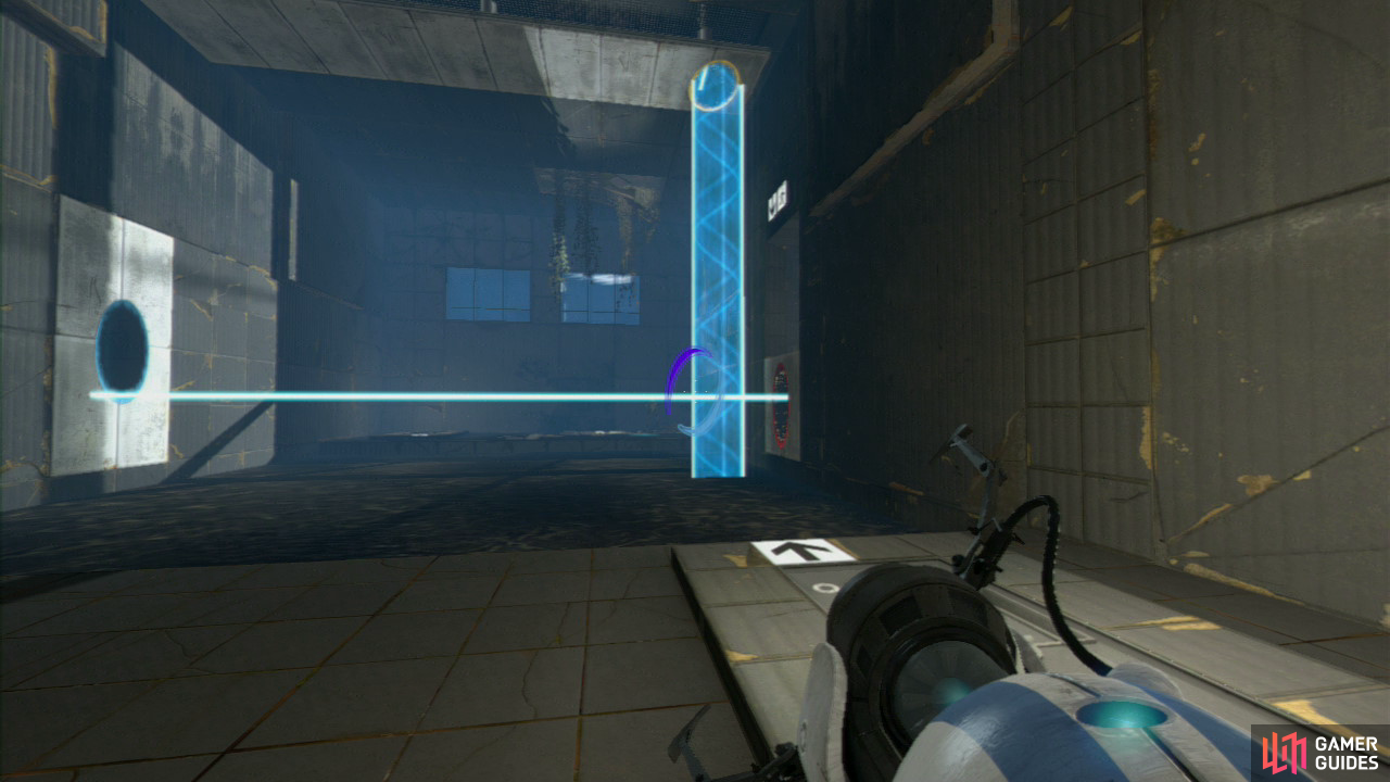 Player 1: Upon entering the second part of the test chamber, look up and to your left, you'll see a light bridge hitting the wall. Get your first portal up here, then place a second portal on the wall panel on the left-side of the room (facing the exit). Try and get it so the light bridge creates a mini 'step' up to the exit.