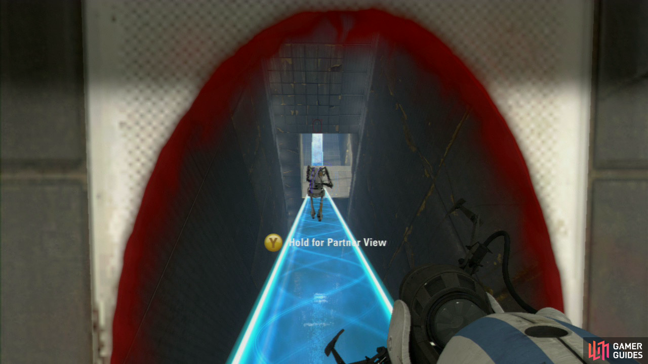 Player 1: Follow player 2 through their portals and you'll run down the angled walkway and onto the platform that leads to the second half of this test chamber.