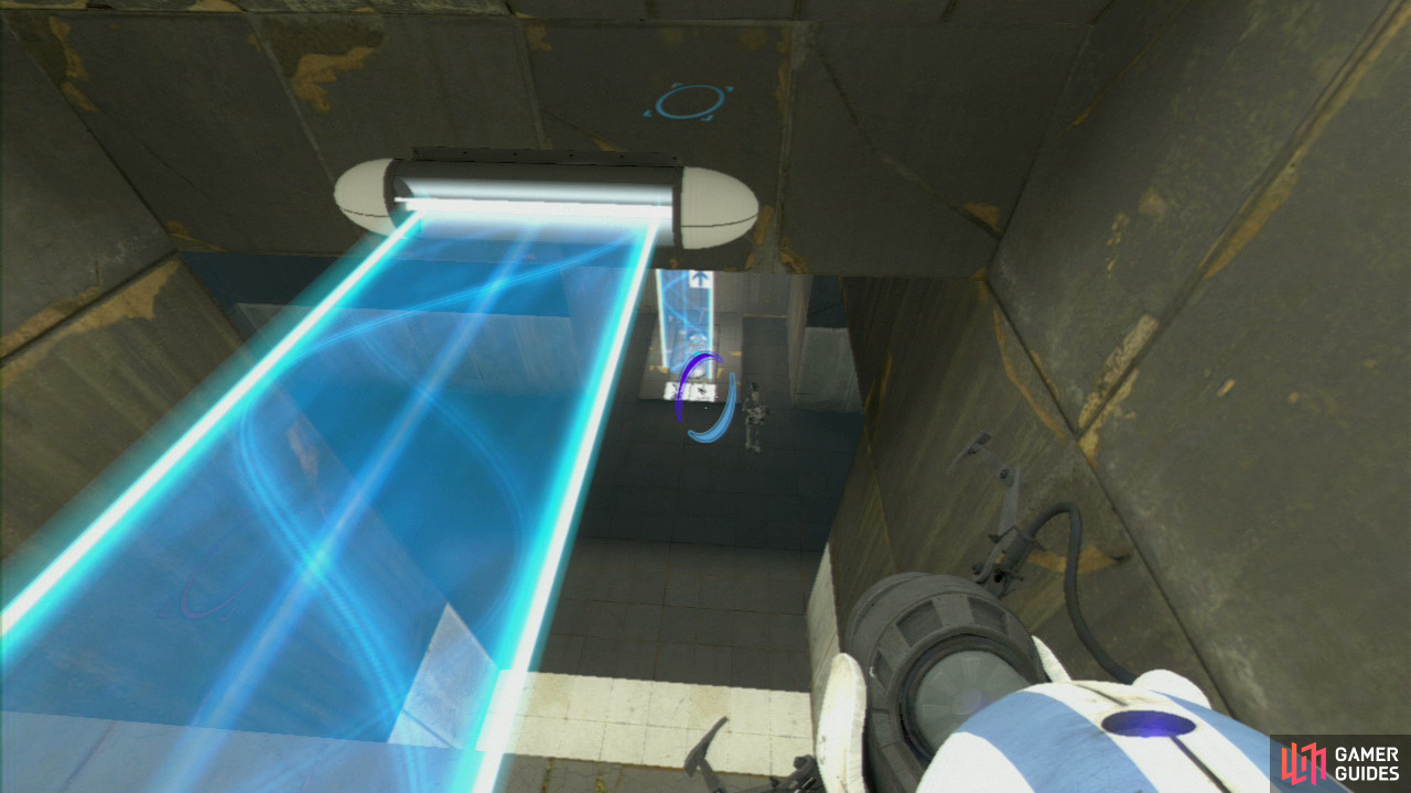 Player 1: There's an Arial Faith Plate located on the floor to your right at the start of this test chamber, so place your portal on the ceiling above it and then on either the far left or far right-hand side of the floor opposite (the centre has a permanent light bridge in the way). Jump off the Faith Plate and steer yourself onto the light bridge. Fire a portal into the wall by the light bridge and remember what colour portal you used!