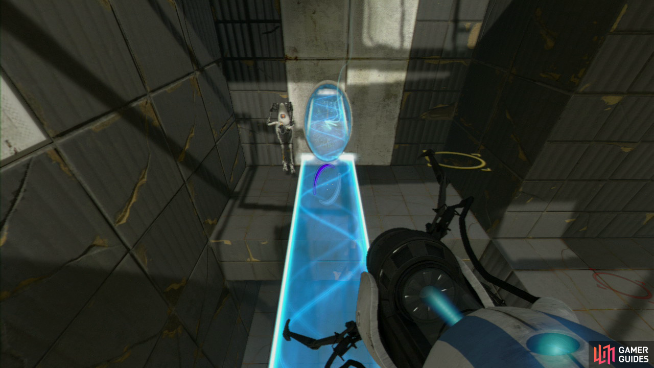 Player 1: Ask player 2 to jump off the light bridge and over to the ledge located to your right. Turn right to face the wall and set another portal on the light-coloured wall. Now place your light bridge on the lower part so you fall down on top of it. Get player 2 to follow you to the end where the both of you can jump into the alcove that leads to part 2 of the test chamber.