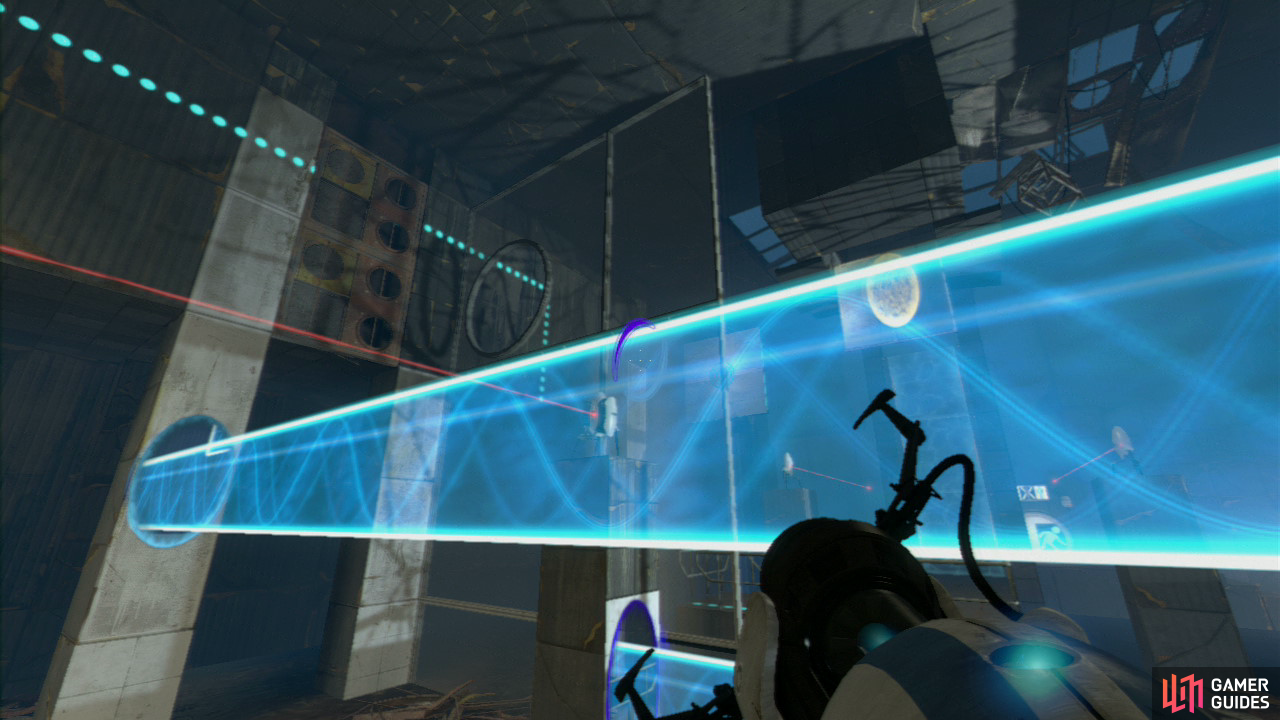Player 1: Upon entering the second part of the test chamber you'll notice the multiple turrets guarding the area to your immediate right. Your first task is to get a portal on the left-hand pillar with the turret on it and then a second portal about two-thirds of the way down the vertical concrete pillar directly ahead of you. This'll create a barrier high enough to protect both of you.