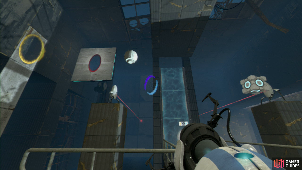 Player 2: Once your colleague has joined you, you need to set a portal back up on the left-hand hanging wall panel (above the turret) and then another on the patchy pillar further to the left (directly facing said turrets). Now either you or player 1 needs to push the button to release the balls and Cubes, knocking over both sets of turrets!