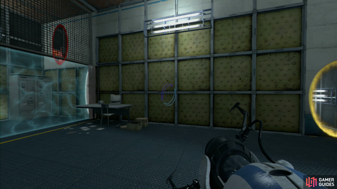 Player 2: Upon entering the building set your first portal on the wall directly beside the 'override' beam and then fire at the top of the wall through the metal grating (where player 1 will currently be). Step through the portal, grab the ball from player 1 and set it in the override slot to open up the path to part 2.
