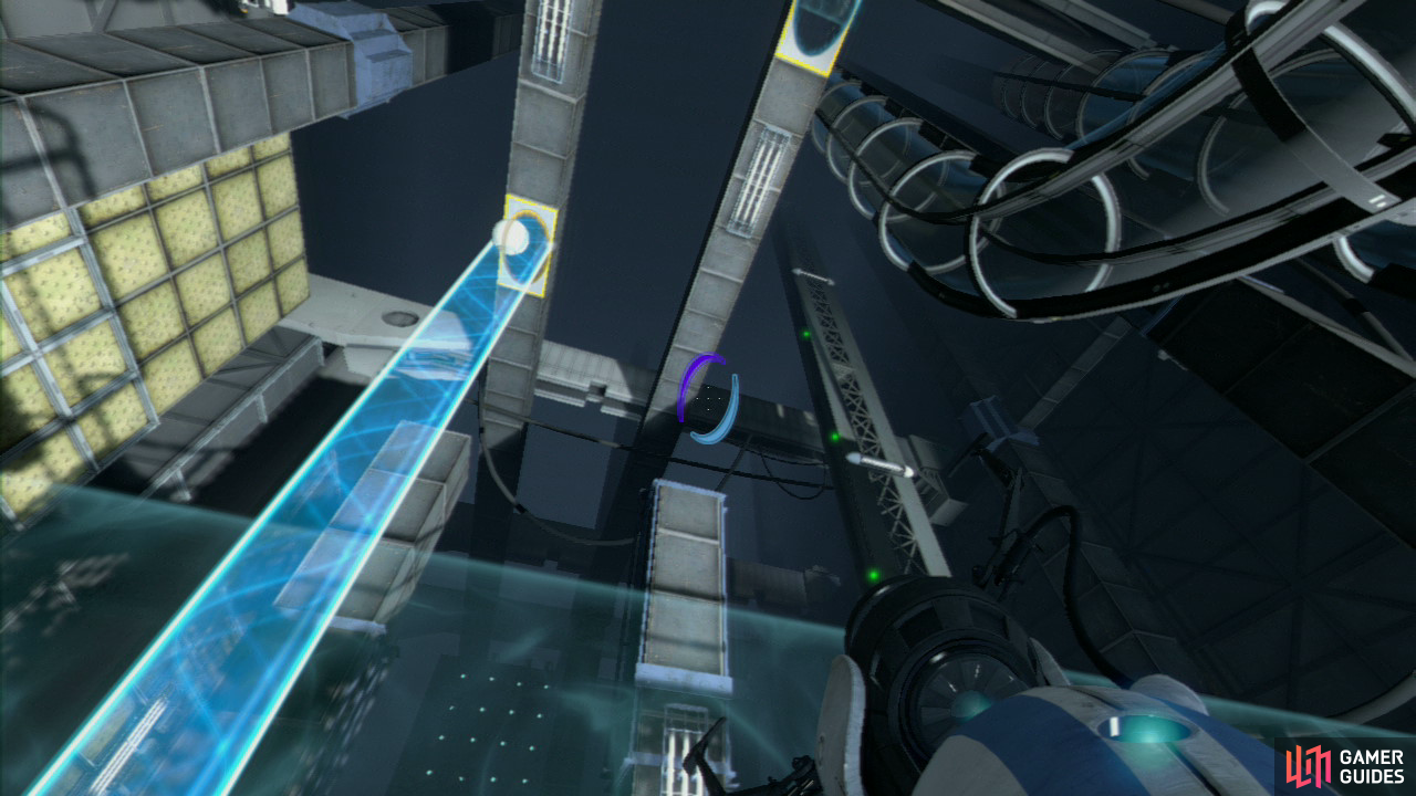 Player 2: Your task is to stay away from the force field, and instead focus on the horizontal light bridge located to your left. You'll want a portal on the wall it's hitting and you'll want to place your second portal on the vent just above your head (behind the force field still). This'll create a barrier that'll catch the ball as it flies into it, bouncing it into the portal player 1 just created a few seconds ago.