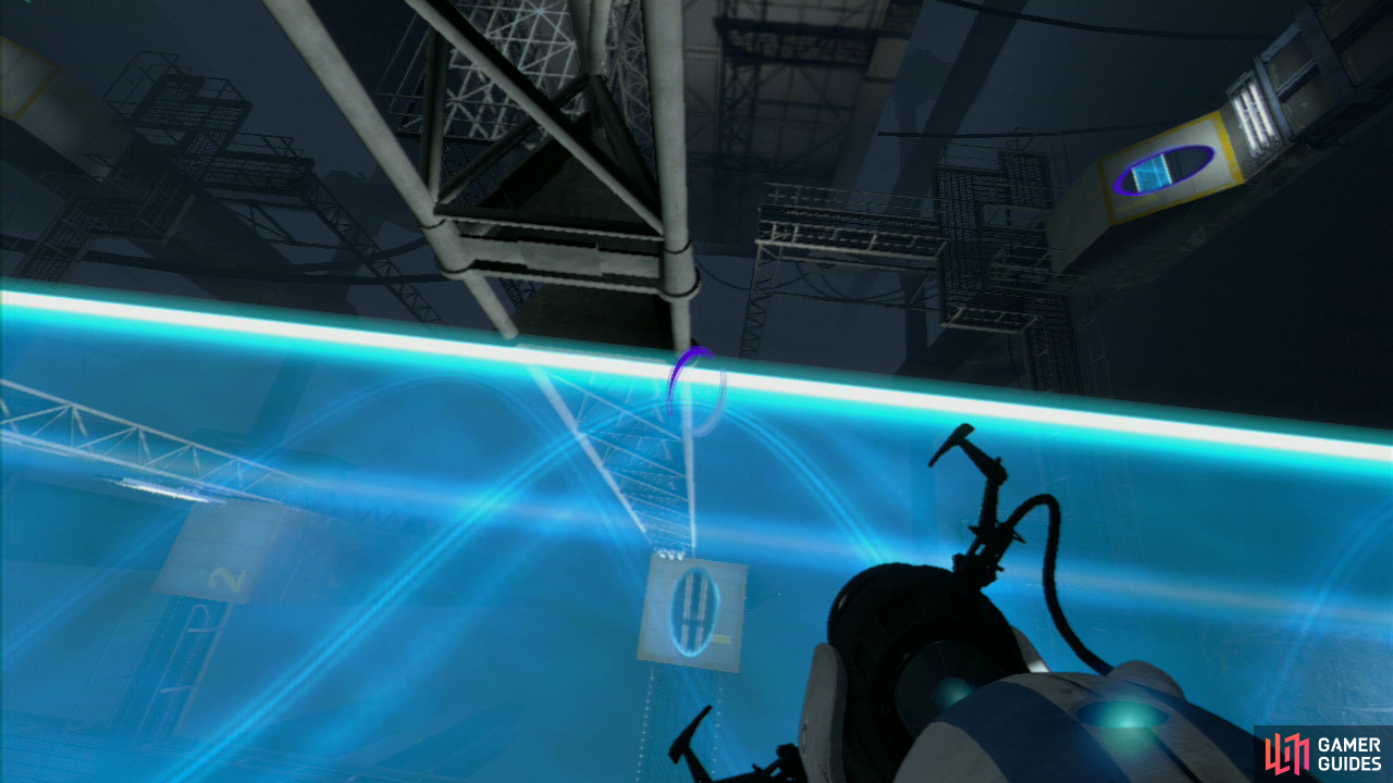 Player 1: Walk across the light bridge until you're standing directly above the square piece of floor with the Number '1' painted on it. Fire a portal onto this piece of floor so you're directly above it. Now look for the slanted wall panel located up and to your right a bit, this is your exit, so set your second portal here.
