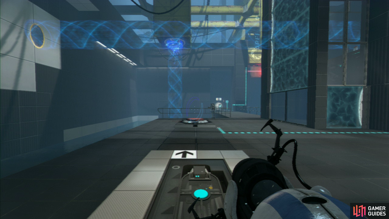 Player 2: Make your way down to the red button on the ground and turn to face the wall on your left (where a series of wall tiles are 'stair casing' themselves up towards the ceiling). Get your first portal slap bang in the middle of the top right-hand set of tiles, so it's facing directly opposite the blue force field. Now get your second portal on the horizontal tile where the excursion funnel to your right is currently going (this'll create a funnel that'll lead right past the force field).
