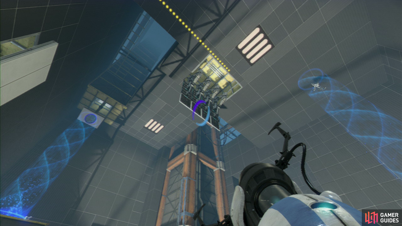 Player 1: Upon entering the main chamber, look for the start of the excursion funnel in the top left-hand corner of the room. Get a portal up on the horizontal panel hanging down above it, then look to your right and on the ground (near the stairs), there's another horizontal panel here that you need to place your other portal on. This'll create a funnel that extends up to the ceiling.
