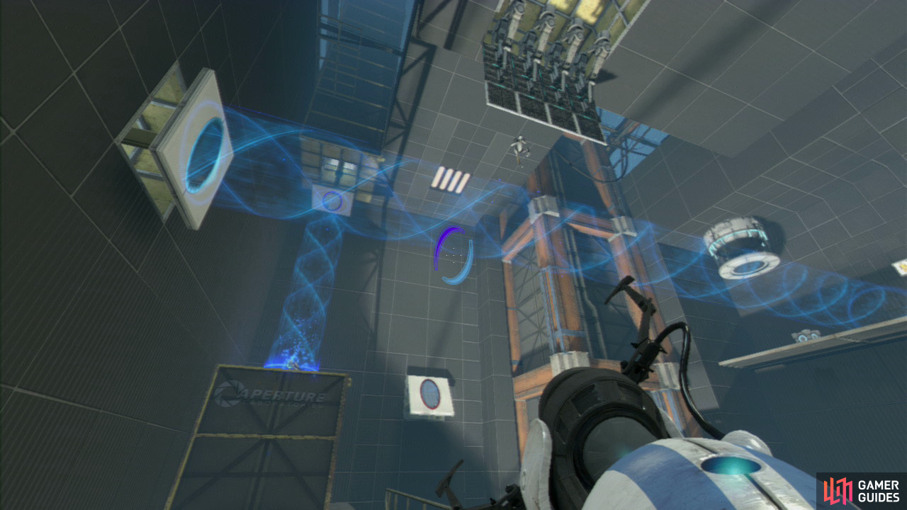 Player 1: Stand on the red button on the floor and this'll lower a vertical barrier from the roof above. Now look to the left-hand wall and you should notice a single vertical wall panel jutting out from the wall. Fire your exit portal here (so the excursion funnel is now running horizontal from left to right, across the room). This in turn will cause player 2 to drop like a stone.