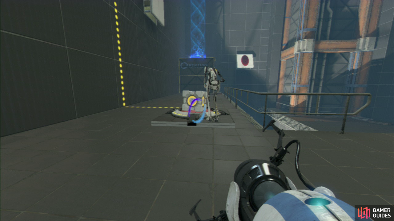 Player 2: You need to react quickly once you start to fall, so as soon as player 1 removes the portal from underneath you, aim directly at the panel below you and set your entrance portal here, this'll cause you to fly out of the angled panel, hit the lowered barrier and fall into the funnel, taking you right over to the platform by the exit.  Now, pick up the Companion Cube waiting patiently for you up here, drop down to the lower level and make your way over to the red button on the floor where you need to set the Cube on.