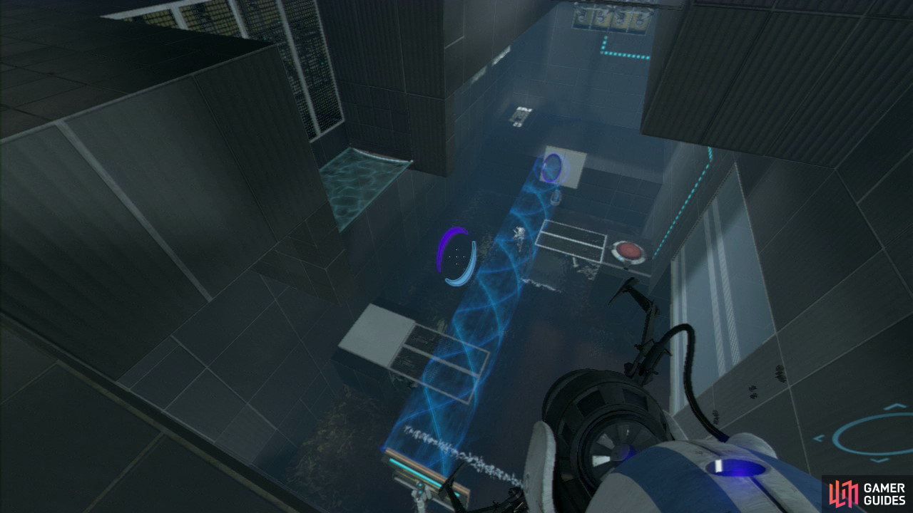 Once you're safely on the upper level, move off the ledge and walk over to the top-left corner of the area and you'll be overlooking the excursion funnel device below. Set a portal back on the wall where the funnel hits and then peer over the ledge that overlooks the main area. Reset a portal back on the vertical panel that's beside player 2 (to create a funnel taking them back over to the ledge underneath the force field). Once they're there, set an exit portal underneath them so the funnel carries them up towards the exit.
